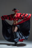 Woman in beautifull red dress dancing Royalty Free Stock Image
