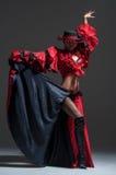 Woman in beautifull red dress dancing Royalty Free Stock Images