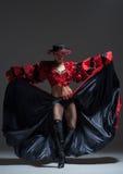 Woman in beautifull red dress dancing Royalty Free Stock Photo