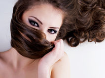 Woman with beauty black eyes stock images