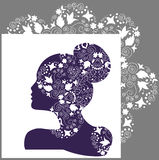 Woman beauty, bridal or fashion logo. Illustration of a ornate woman silhouette  with openwork pattern decorated with flowers, leaves, curls, pinstripes and Stock Photo
