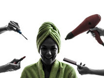 Woman beauty care concept silhouette Stock Photography