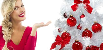 Woman beauty christmas tree red balls Stock Photo
