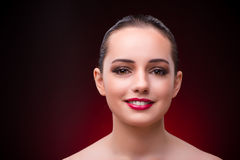 The woman in beauty concept with red lipstick Stock Images