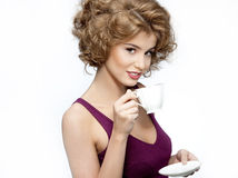 Woman beauty with cup Stock Image