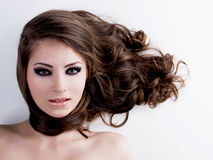 Woman with beauty eyes and hairs Stock Photos