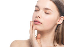 Woman beauty face closed eyes with hand portrait isolated on whi Stock Image