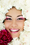 Woman beauty face with flower peony frame  on white Stock Photos