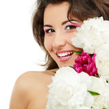 Woman beauty face with flower peony isolated on white Royalty Free Stock Photo