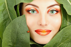 Woman beauty face with green leaves frame Stock Images