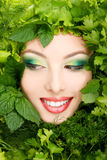 Woman beauty face with greens vegetables frame Royalty Free Stock Photos