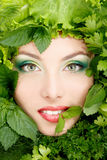 Woman beauty face with greens vegetables frame Stock Photos