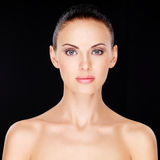 Woman with beauty face over black background Royalty Free Stock Photos