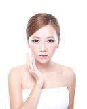 Woman with beauty face and perfect skin. Portrait of the woman with beauty face and perfect skin isolated on white background, asian Stock Images