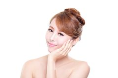 Woman with beauty face and perfect skin. Portrait of the woman with beauty face and perfect skin isolated on white background, asian beauty Stock Photography