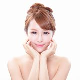 Woman with beauty face and perfect skin. Portrait of the woman with beauty face and perfect skin isolated on white background, asian model Royalty Free Stock Photo
