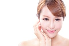 Woman with beauty face and perfect skin Stock Photos