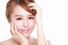 Woman with beauty face and perfect skin. Portrait of the woman with beauty face and perfect skin isolated on white background, asian model Royalty Free Stock Image