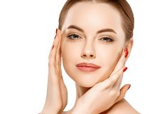 Woman beauty face portrait isolated on white with healthy skin Stock Photography