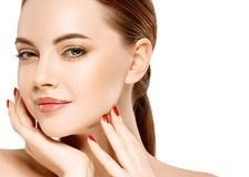 Woman beauty face portrait isolated on white with healthy skin Royalty Free Stock Photo
