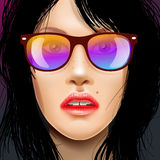 Woman beauty face in sunglasses, drawing fashion illustration. Royalty Free Stock Photos
