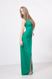 Woman in beauty fashion green dress Stock Images
