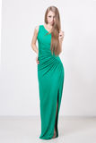 Woman in beauty fashion green dress Stock Photo