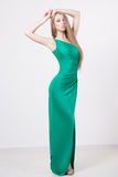 Woman in beauty fashion green dress Stock Photos