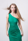 Woman in beauty fashion green dress Royalty Free Stock Image
