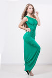 Woman in beauty fashion green dress Royalty Free Stock Photos