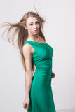 Woman in beauty fashion green dress Stock Image
