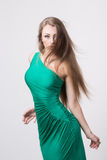 Woman in beauty fashion green dress Royalty Free Stock Photography