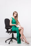 Woman in beauty fashion green dress Stock Photo
