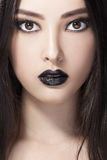 Woman Beauty Fashion Portrait With Black Lips In Studio. Asian Coasian Model Royalty Free Stock Photos