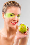 Woman beauty with green apple Stock Image