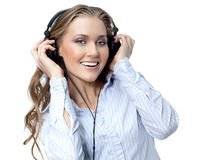Woman beauty with headphones Stock Photography