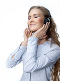 Woman beauty with headphones Royalty Free Stock Photo