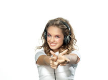 Woman beauty with headphones Royalty Free Stock Images