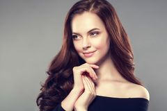 Woman beauty healthy skin and hairstyle, brunette with long hair stock photography
