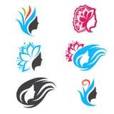 Woman Beauty Logo Design Set Stock Photos