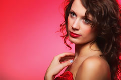 Woman with beauty long brown curly hair Stock Photography