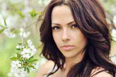 Woman with beauty long brown hair - outdoors Royalty Free Stock Photos