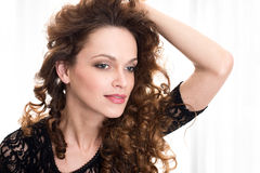 Woman with beauty long brown hair Royalty Free Stock Photography