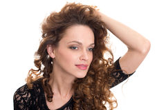 Woman with beauty long brown hair Royalty Free Stock Images