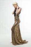 Woman Beauty Long Fashion Dress, Elegant Girl In Gold Gown Stock Photo