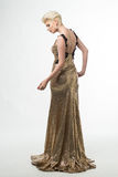 Woman Beauty Long Fashion Dress, Elegant Girl In Gold Gown, Youn Stock Photography