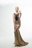 Woman Beauty Long Fashion Dress, Elegant Girl In Gold Gown, Youn Stock Images