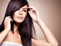 Woman with beauty long straight hair Stock Images
