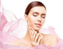 Woman Beauty Makeup, Face Skin Care Natural Beautiful Make Up stock photos