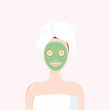 Woman with Beauty Mask on the Face with Towel on Head. Matcha, Avocado, Green Tea, Cucumber Facial Treatment. Vector Illustration Stock Images